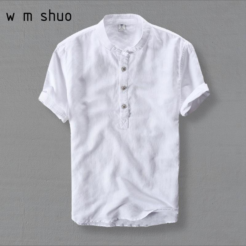 Wmshuo Mens Shirts Fashion 2019 Summer Short Sleeve Slim Linen Shirts Male White Color Casual Shirts Plus Size 4xl Tops Y001 C19041702