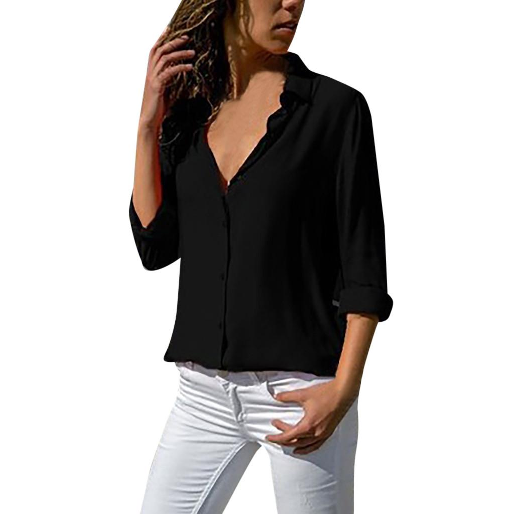 2249ddee5cb 2019 Fashion Womens Solid Chiffon Blouse Office Ladies Plain Roll Sleeve  Tops And Blouses 2019 Feminine Blouse From Biusec