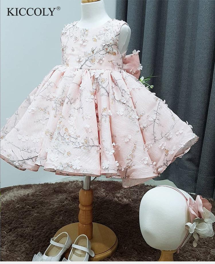 8d9b87a84 2019 Cute Pink Tulle Floral Newborn Baby Girl Flower Lace Baptism ...