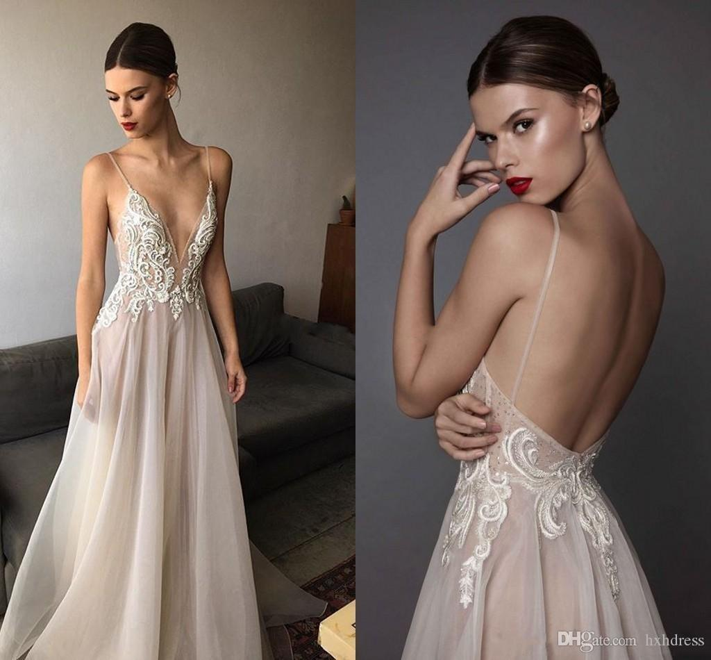 2019 New Ivory Berta Evening Dresses Deep V Neck Spaghetti Straps Embroidered Chiffon Backless Summer Illusion Long Prom Dresses 2018