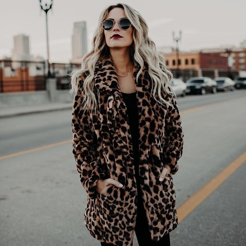 0a31af8c3 Leopard Print Faux Fur Coat Jacket Women Winter 2018 Fashion Faux Fur  Jacket Leopard Female Velvet Cardigan Overcoat Plus Size