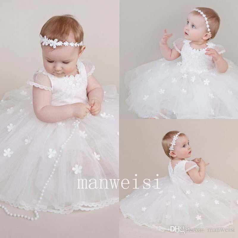 b8d5c561 Vintage White Short Sleeve Vintage Infant Christening Dress Lace Toddler  Baptism Gowns Flower Girls Kid First Communication Dress Christening Gowns  Ireland ...