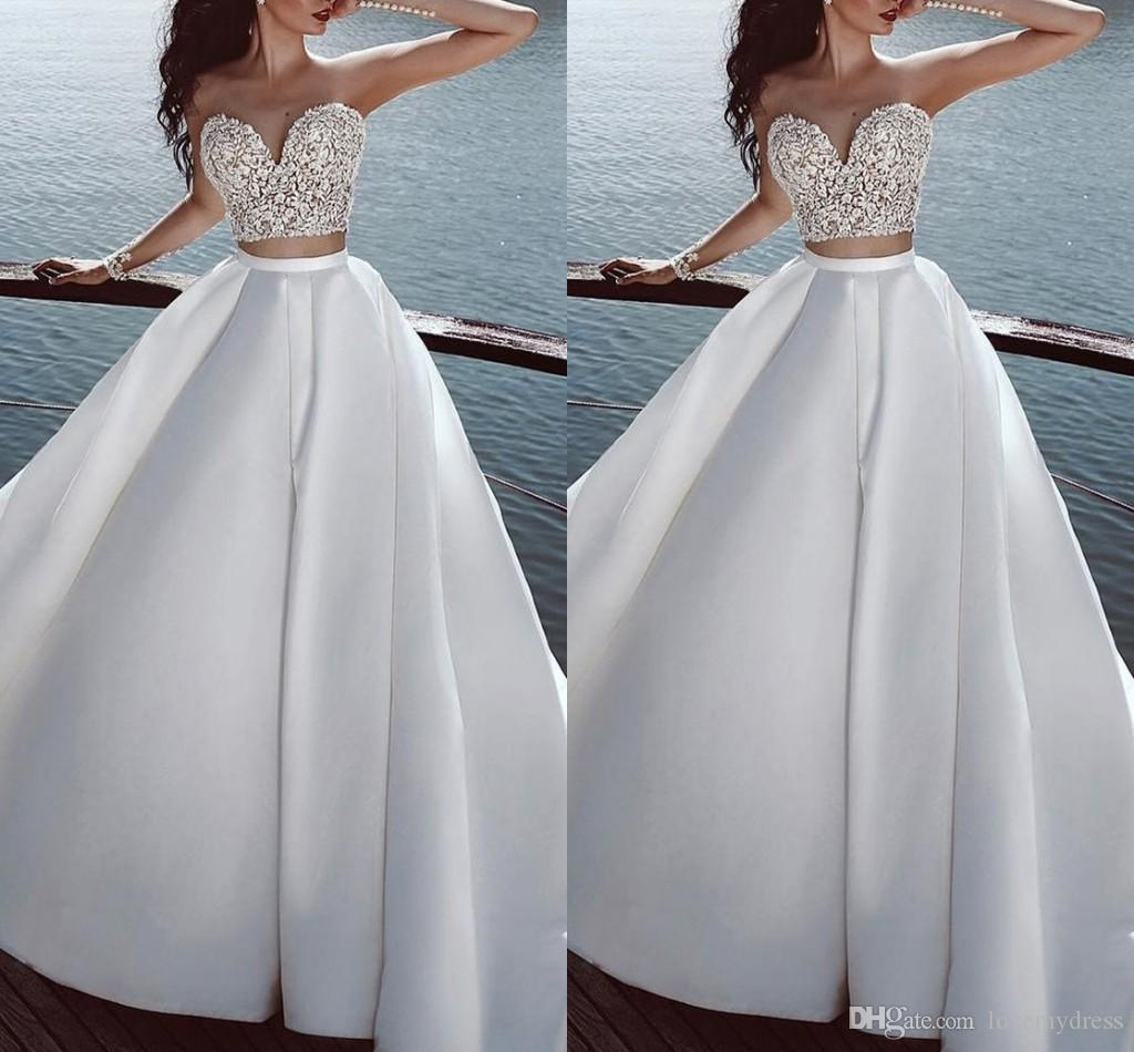 Amazon Berta Wedding Dresses Empire Waist 2 Piece Nigerian Lace Beaded  Satin A-line Beach Wedding Dress Boho Bridal Gowns Plus Size Long