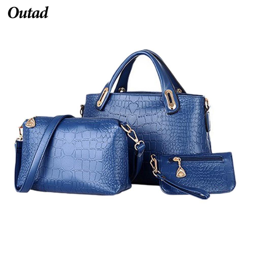 99f7a9dcb40 Outad Women Bag Crocodile Pattern Composite Bag Vintage Women Messenger  Bags Shoulder Handbag Purse Wallet Leather Handbags Black Handbags Handbags  ...