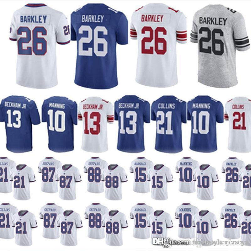 competitive price de137 2c225 26 Saquon Barkley Gaints jerseys Youth 13 Odell Beckham Jr 10 Eli Manning  15 Brandon Marshall 21 Landon Collins 87 Sterling Shepard jerseys