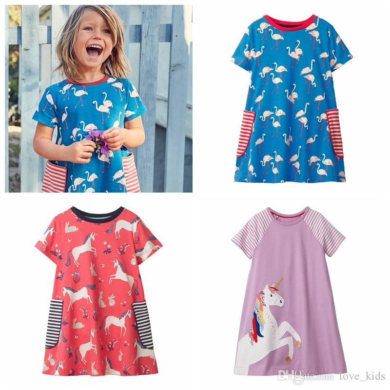be1ba064 2019 2019 Baby Girl Skirt Summer Hot Sale Unicorn Short Sleeve Dresses  Round Neck Cotton Party Dress From Love_kids, $6.47 | DHgate.Com