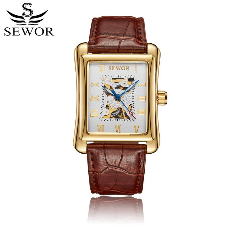 SEWOR Mechanical Hand Wind Men Watch Brown Leather Bracelet Rectangle  Man Watches Skeleton Clock Wristwatch Montre Homme