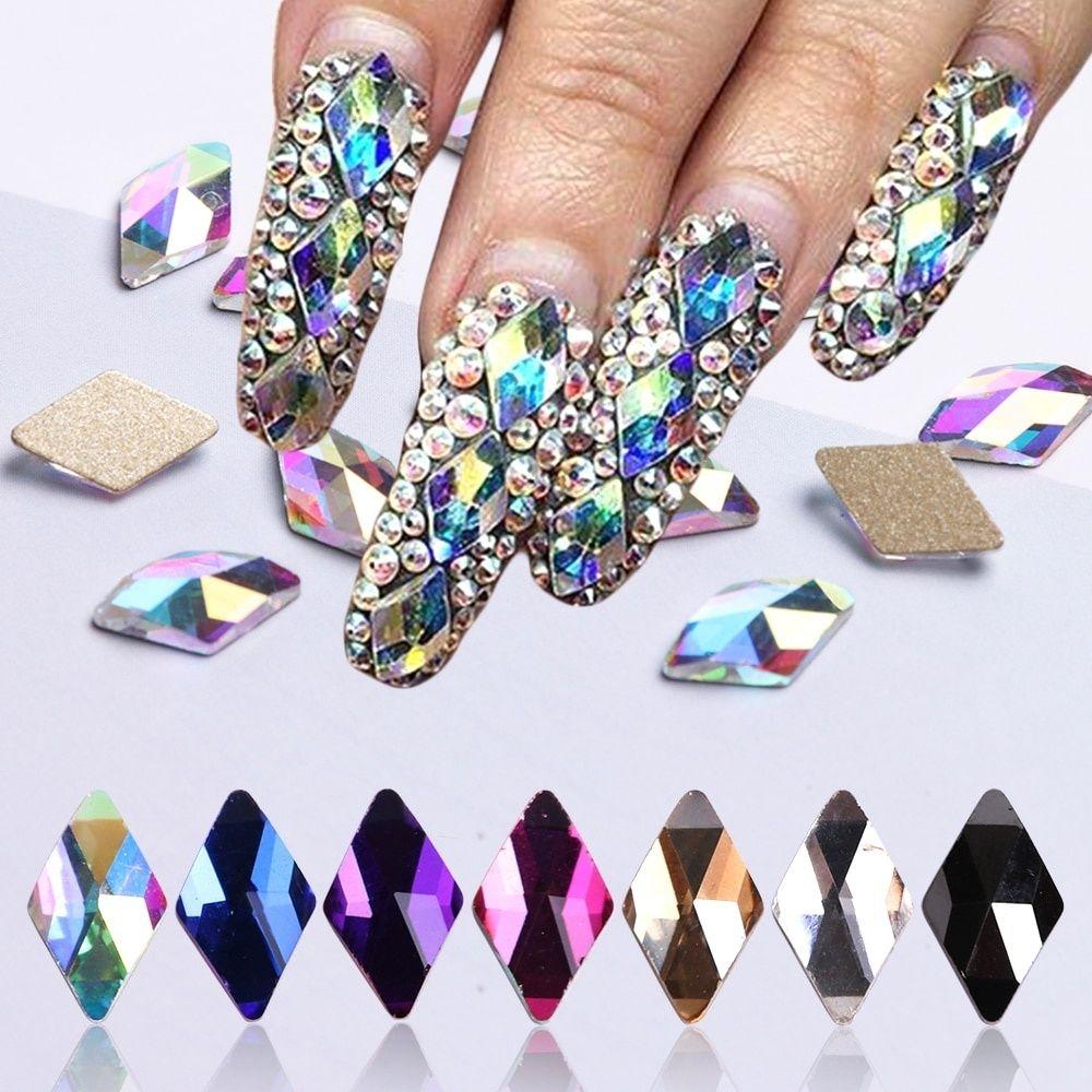 a099ea99ca 10Pcs DIY Crystal AB Rhombus Nail Glitter Rhinestones Glass Flat Back 3D  Diamond Paillette Nail Art Decorations Manicure Tools