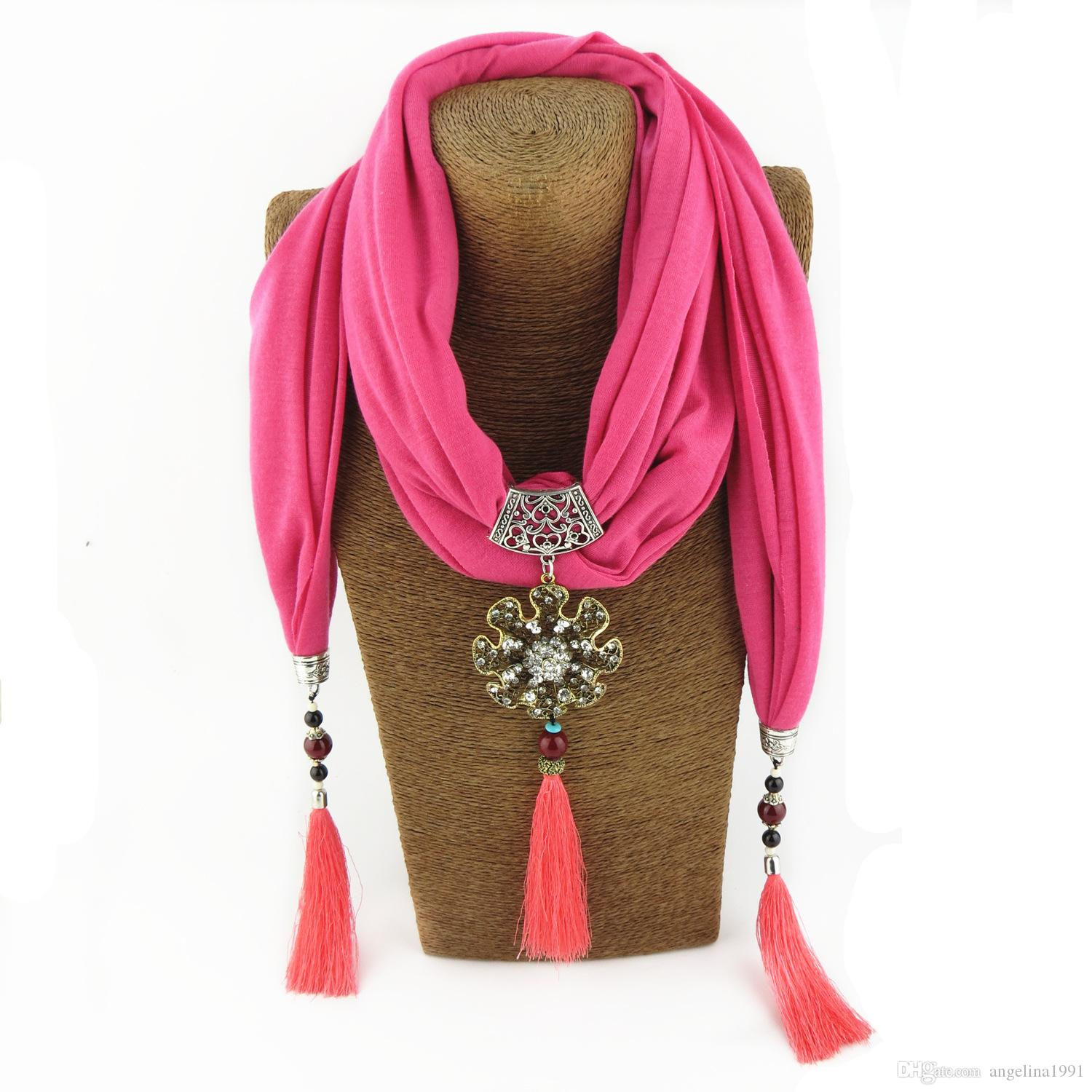 New Popular Now Ethnic Bohemia Colorful Tassel flower rhinestones pendant scarf Necklace Women Jewelry