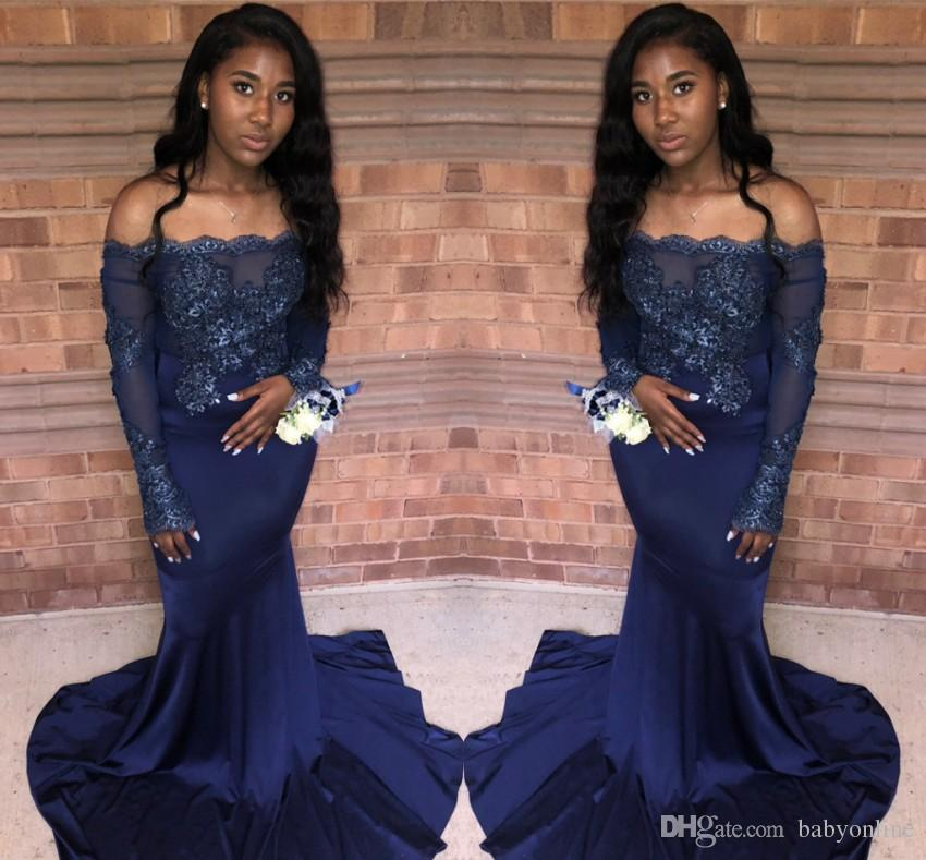 f6f3a5e78224 New Arrival Vintage Long Sleeves Dark Navy Prom Dresses 2019 Mermaid ...