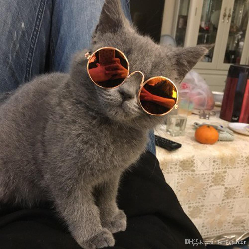 Cute and Funny Pet Sunglasses Classic Retro Circular Metal Prince Sunglasses for Cats or Small Dogs Fashion Costume
