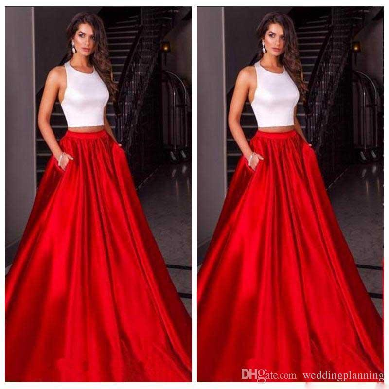 New Cheap Chinese Halter Luxury Red Skirt Prom Dresses Satin Custom Formal Underpart Dresses Evening Wear Party Gowns