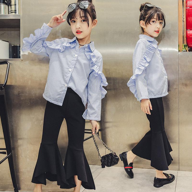 f78b138e22bd 2019 2019 Autumn Teenage Girls Clothing Sets Long Sleeve Blouse+Fashion  Pants Girl Outfits Suits Costumes Girls Ensemble Fille From Zerocold10