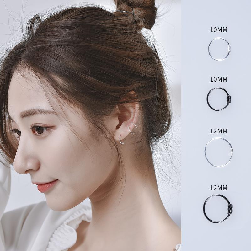 17ead6ab5116e 925 Sterling Silver Small Hoop Earrings For Women Men Simple Round Circle  Earrings Hoops Ear Rings Ear Bone Jewelry New