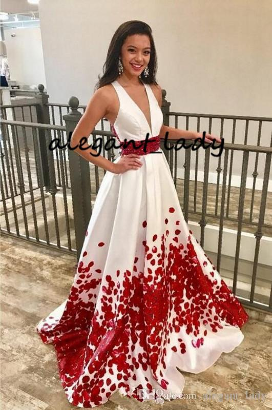 3e76c3c63f4 Red And White Long Prom Formal Dresses With Sash 2019 Sexy V Neck 3D Floral  Butterfly Matte Stain Occasion Evening Wear Dress Prom Dresses Vintage Prom  ...