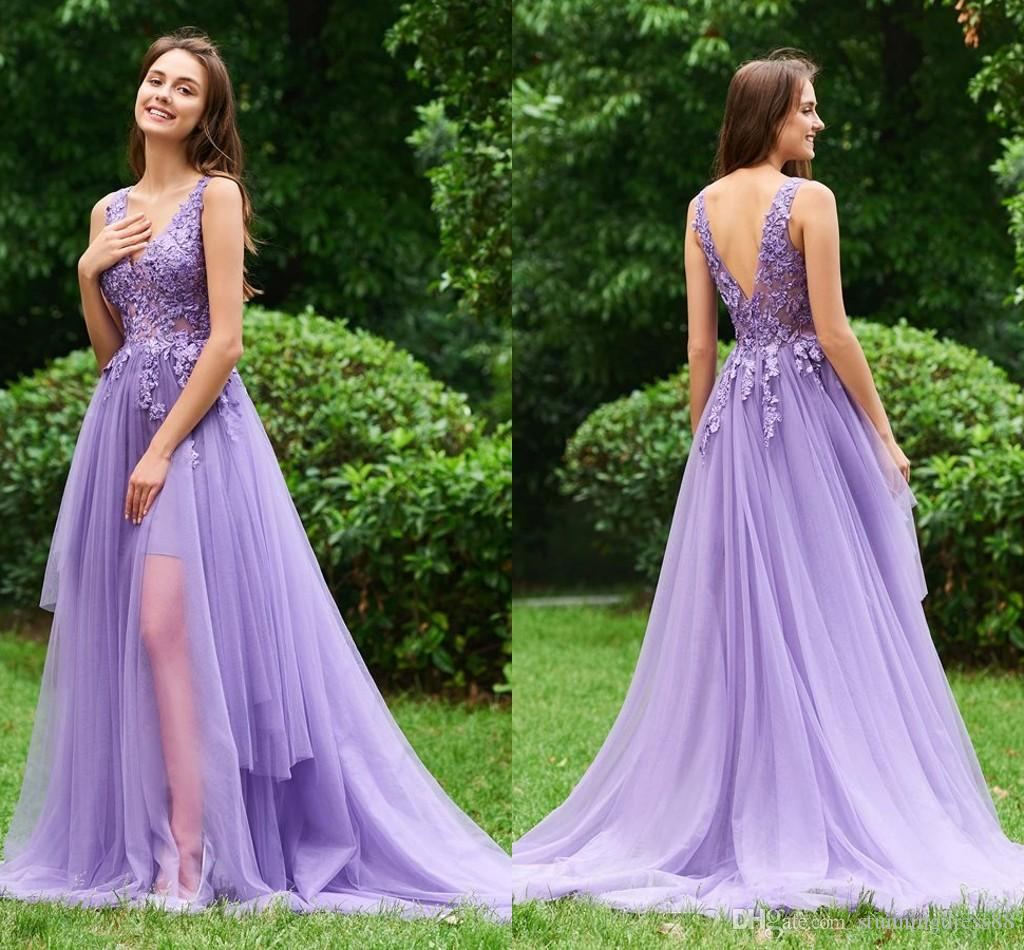 07f372b357b Elegant Purple Prom Dresses 2019 V Neck Applique Lace Ruched Tulle Sequins  Long Cheap Evening Homecoming Party Formal Dress Gown Gowns Dresses Halter  Prom ...