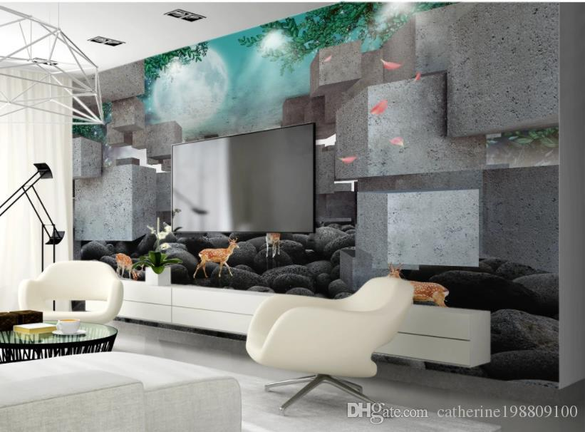 modern living room wallpapers 3D cube sika deer embossed TV background wall paper