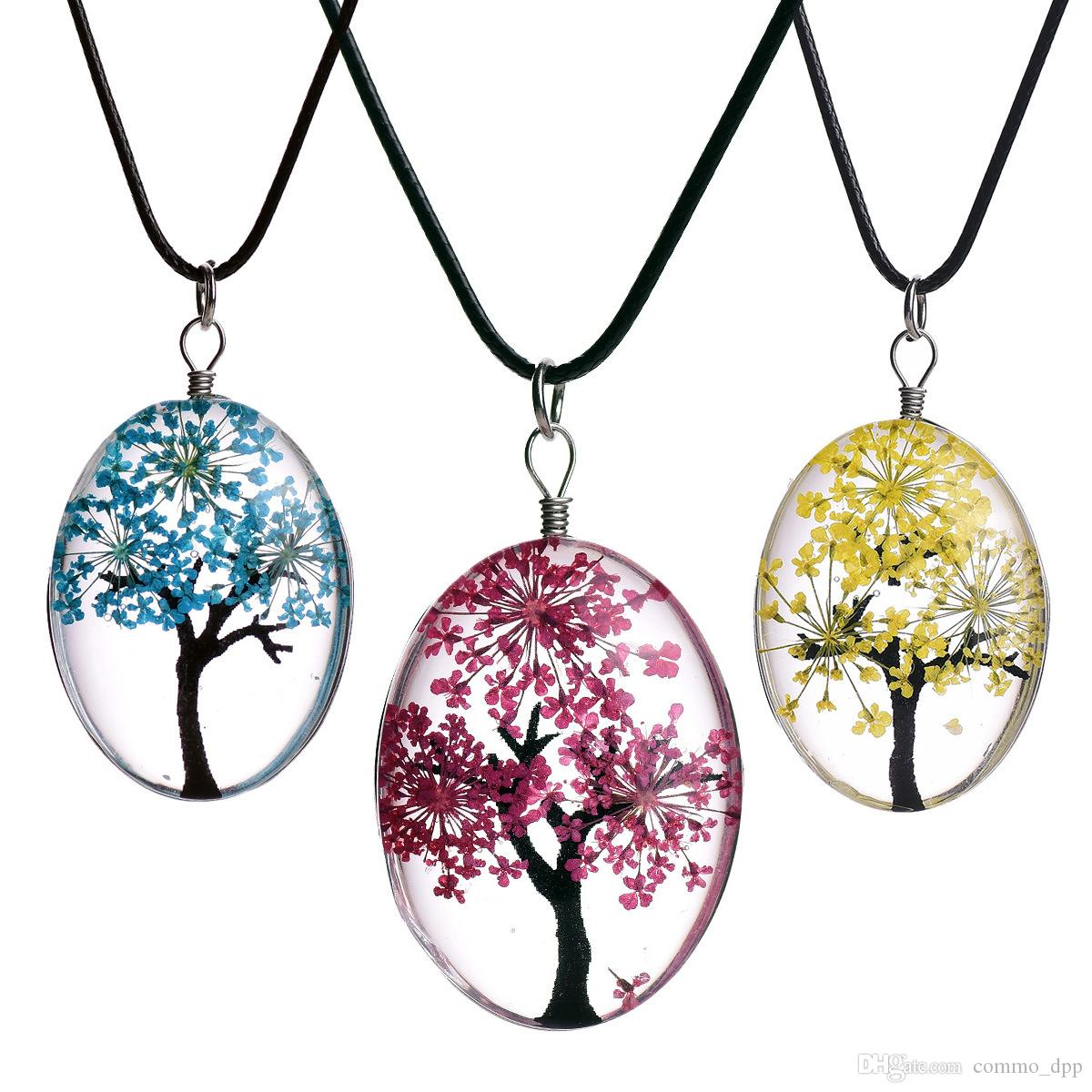 cfb7391935a47 Fashion Dried flower specimen necklaces Oval Glass Cabochon Tree Of Life  Pendant Leather wax rope chains For women DIY Jewelry Gift