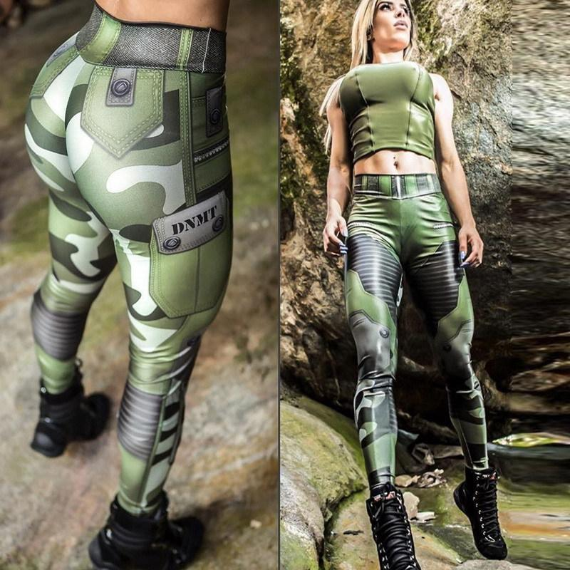 Punk S Women Camouflage Army Green Stretch Leggings Pants Trouser Graffiti Slim For Women Gifts Wholesale