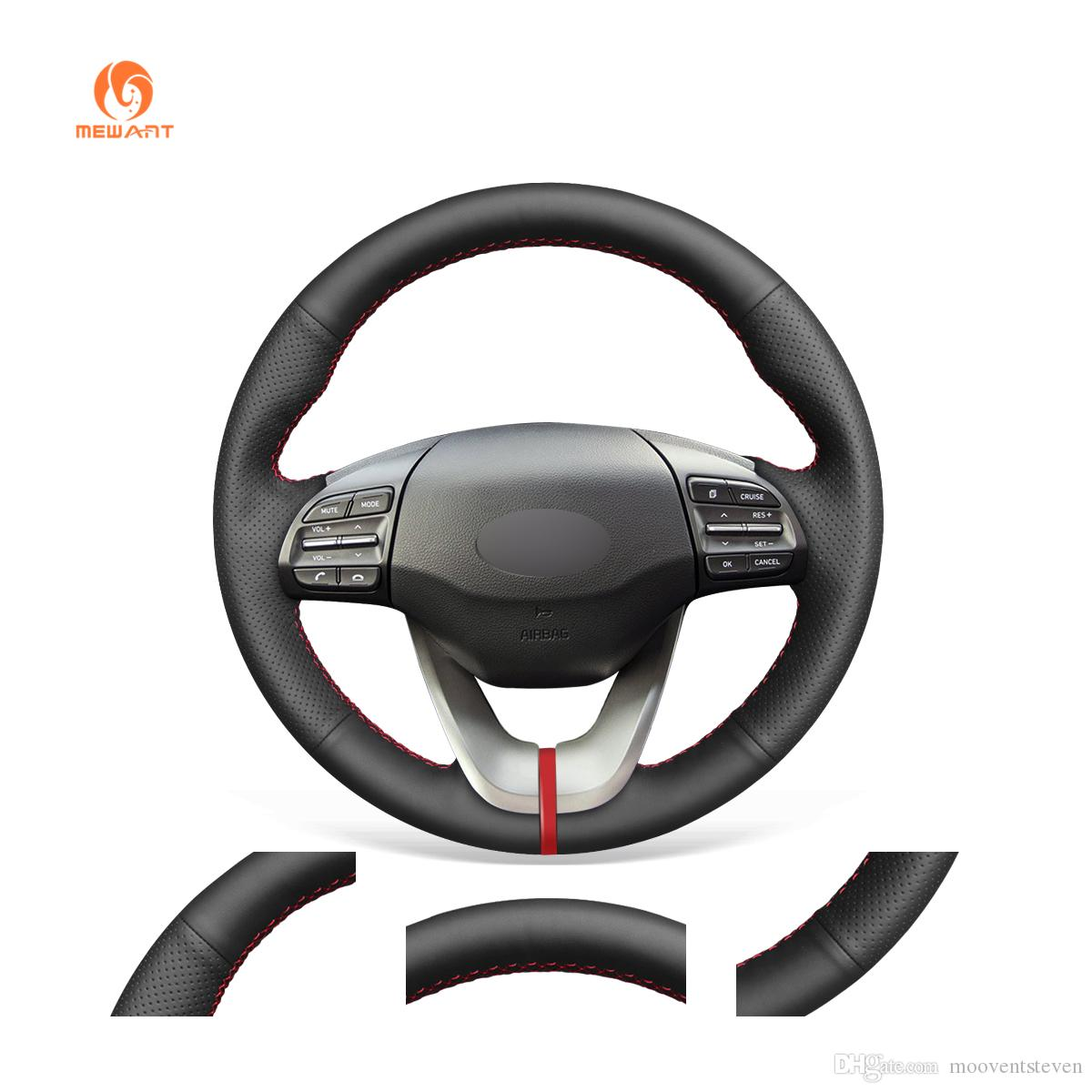 MEWANT Hand-stitched Durable Stitching Black Artificial Leather Car Steering Wheel Cover for Hyundai Veloster 2019