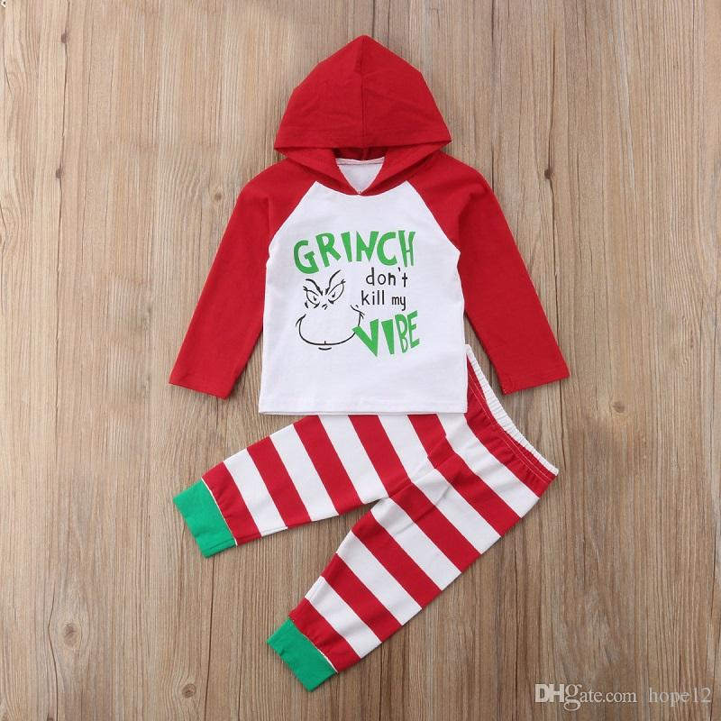 Kids Christmas Shirts.New Todder Baaby Clothes Set Striped Pants The Grinch Printed Hooded Shirt Unisex Kids Christmas Shirts Babies Newborn Infant Outfit Chris