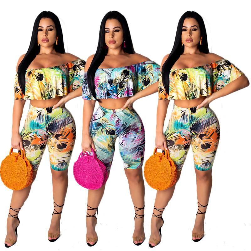 women leaf print off shoulder slash neck butterfly sleeve crop top knee length pant suit 2pcs set outfit beach tracksuit