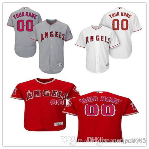 bfa394ff1 Men s Los Angeles Angels Majestic Alternate Scarlet Flex Road Gray White  Cool Base Authentic Collection Custom Jersey