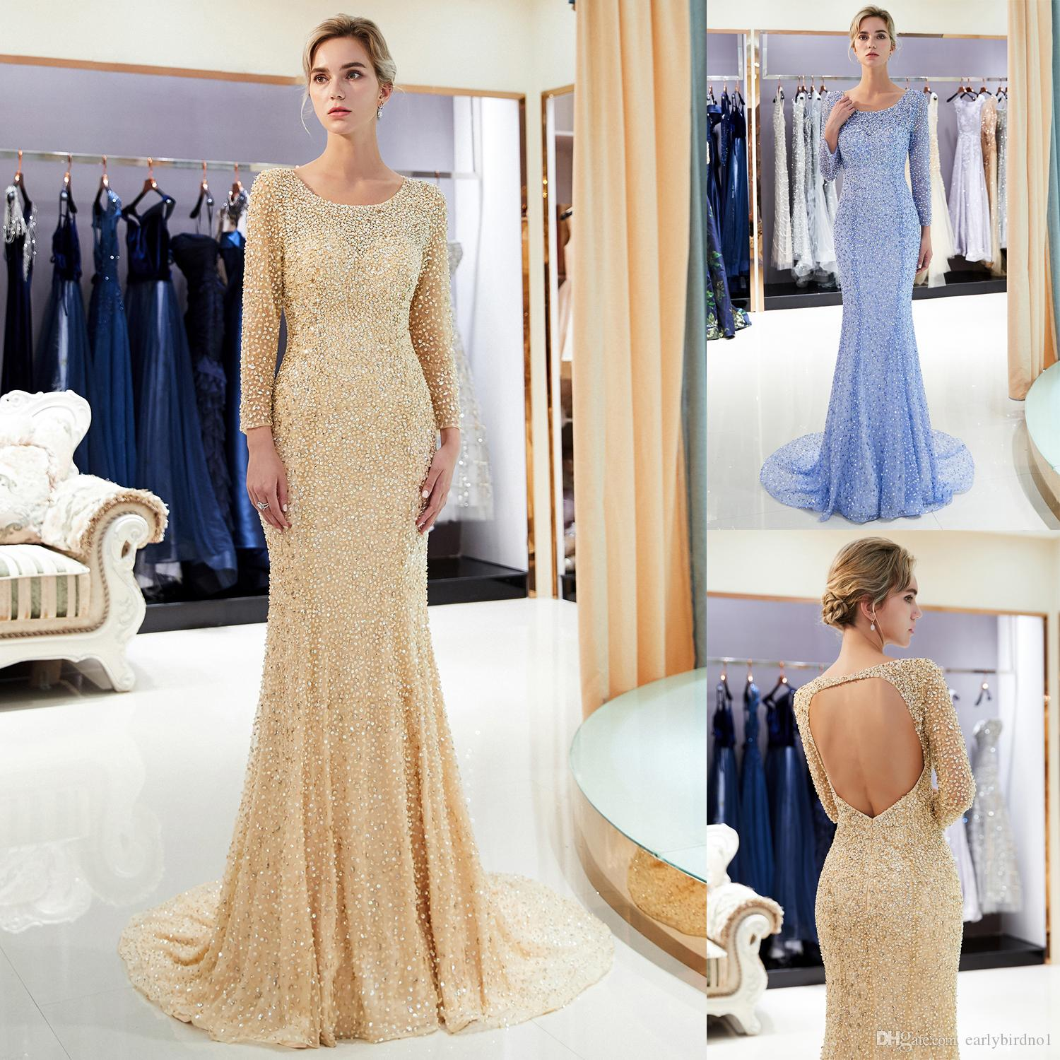 87047c2d79a Long Sleeves Luxury Beaded Designer Evening Party Dresses Hollow Back Sweep  Train Wedding Guest Dress 100% Real Image Prom Gown CPS1182 Designer Long  Dress ...