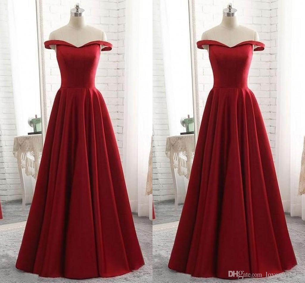 e9e6c2f608b Dark Red Prom Dresses Plus Size Long 2019 Off The Shoulder Satin A Line Empire  Waist Evening Dress Formal Elegant Party Gowns Custom Made Prom Dress  Stores ...