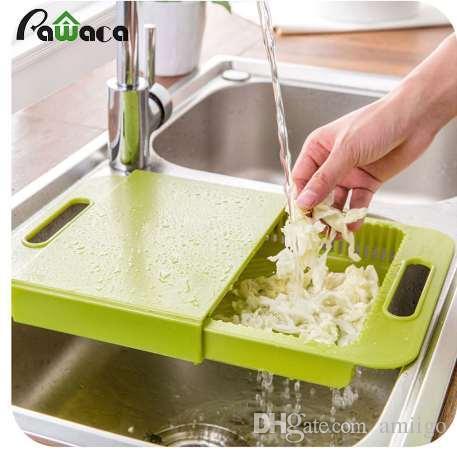 Kitchen Sink Drain Cutting Board Chopping Block Non-slip Meat Fruit  Vegetable Chopping Board with Food Storage Box Drain Basket