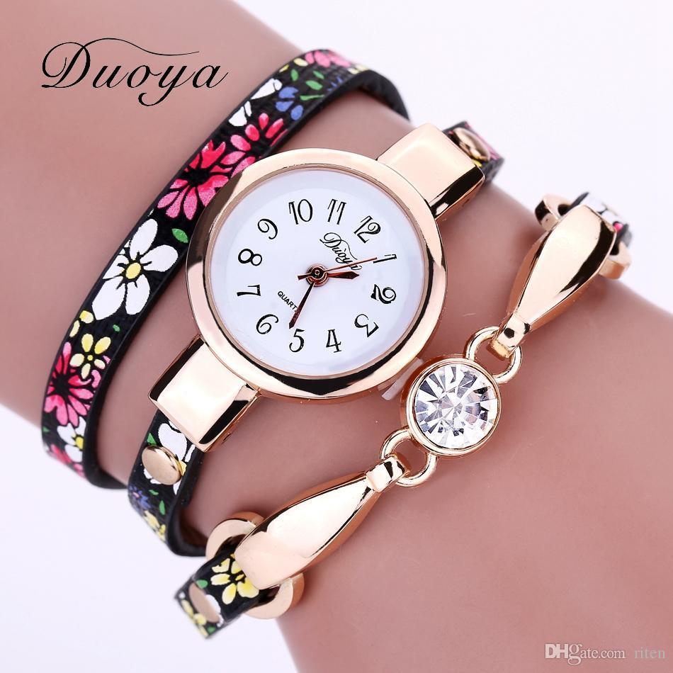 87395ca7b75 Duoya Luxury Women Brand Thin Leather Rose Gold Bracelet Watch Women  Crystal Quartz Wristwatch Montre Female