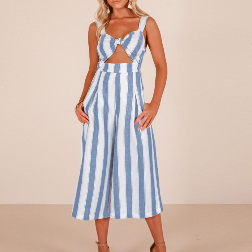 Jumpsuit bodysuits Womens Fashion Overalls for women Stripe Strappy Holiday Playsuit Trousers Casual Beach itemMAR 13
