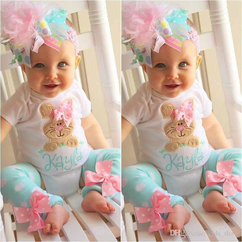 52f33efe9 Easter baby girls rabbit outfits children bunny romper+dot bow leg warmer  sets summer fashion boutique kids clothing sets