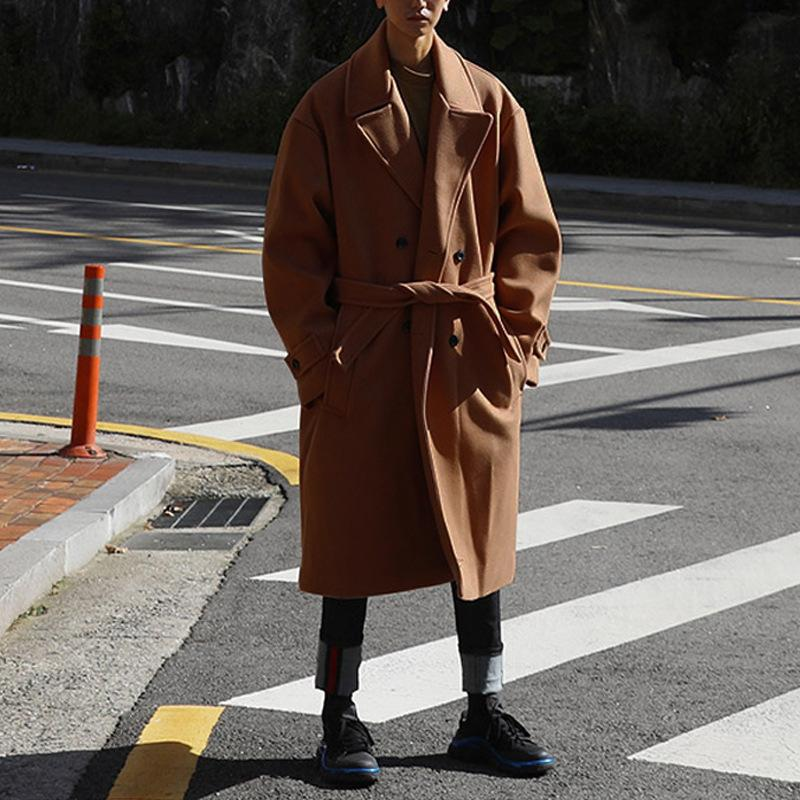 and winter oversize loose belt woolen overcoat Men's Korean version thicker woolen windbreaker overcoat loose