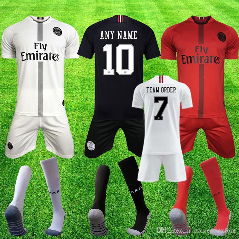 c069ef8aa0bb PSG Soccer Jersey Adult Full Kits 2019 Paris MBAPPE CAVANI VERRATTI ...