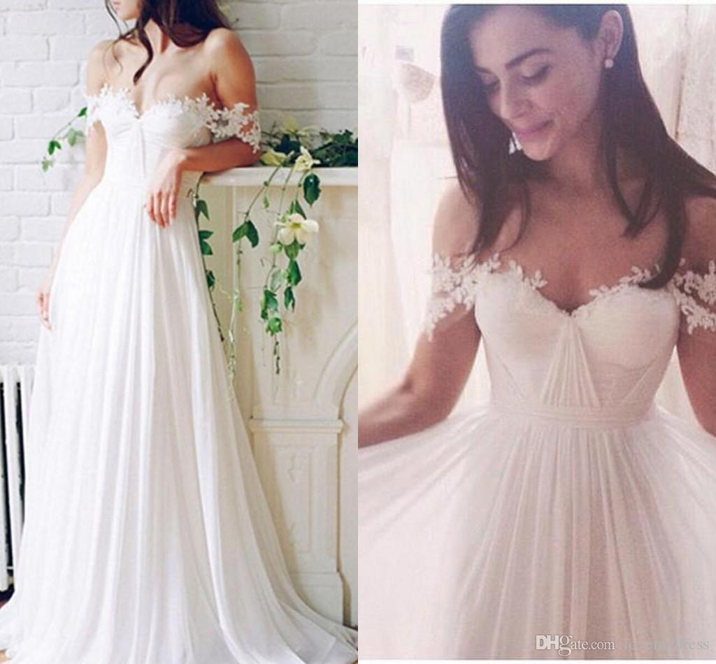 e58f4428383 2019 Off Shoulder Beach Wedding Dresses Pleats Ruched Applique Open Back  Chiffon Sexy Country Wedding Dress Bridal Gowns Summer Cheap Petite Wedding  Gowns ...