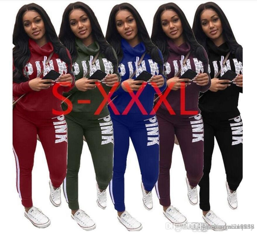 ef7a76490ab 2019 Discount Pink Letter Print 2 Two Piece Set Top And Pants Women  Tracksuit 2018 Spring Plus Size Casual Outfit Sweatshirt Women Sweatsuits  From ...