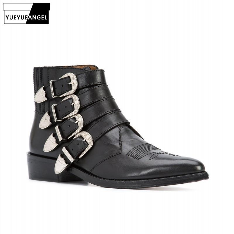 Runway Mens Buckle Cowboy Boots Top Quality Cowhide Real Leather Riding Boots Pointed Toe Med Heels Biker Safety Shoes