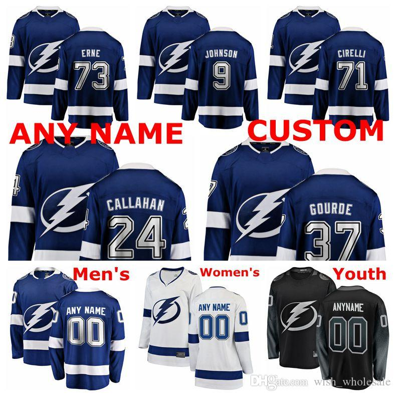 timeless design 04fa3 4ee9f Tampa Bay Lightning Jerseys Ryan Callahan Jersey Anthony Cirelli Adam Erne  Yanni Gourde Tyler Johnson Ice Hockey Jerseys Custom Stitched