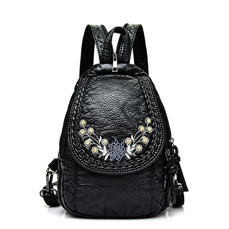 Embroidery Flowers Women Backpack Small Soft Pu Leather Backpacks For Girls Teenagers Female Shoulder Bag Chest Pack Black Bolsa Y190627