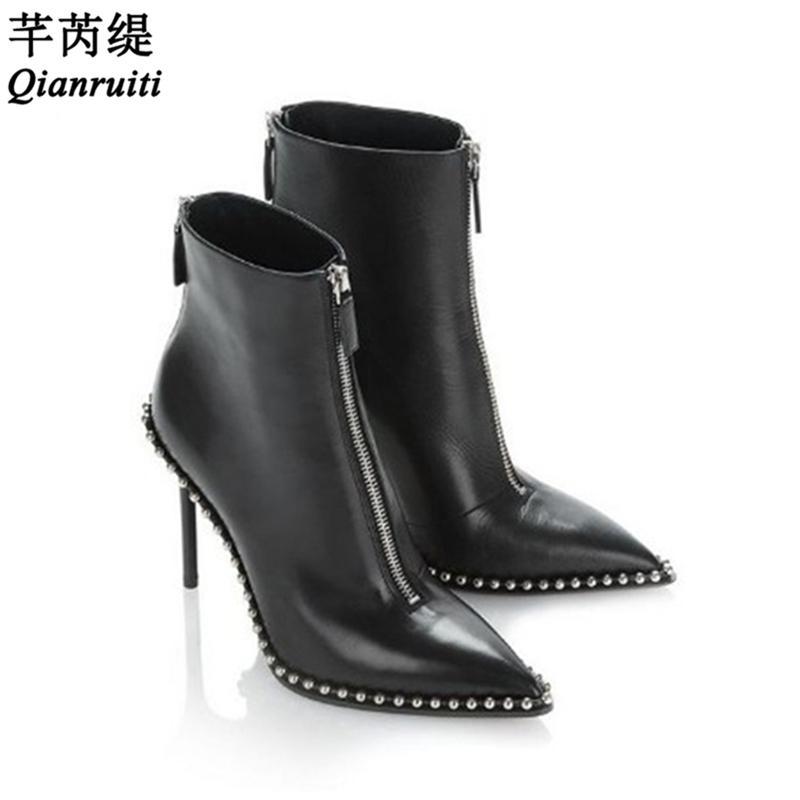 Qianruiti Zapatos Mujer Black Leather Boots Women Pointed Toe Zipper