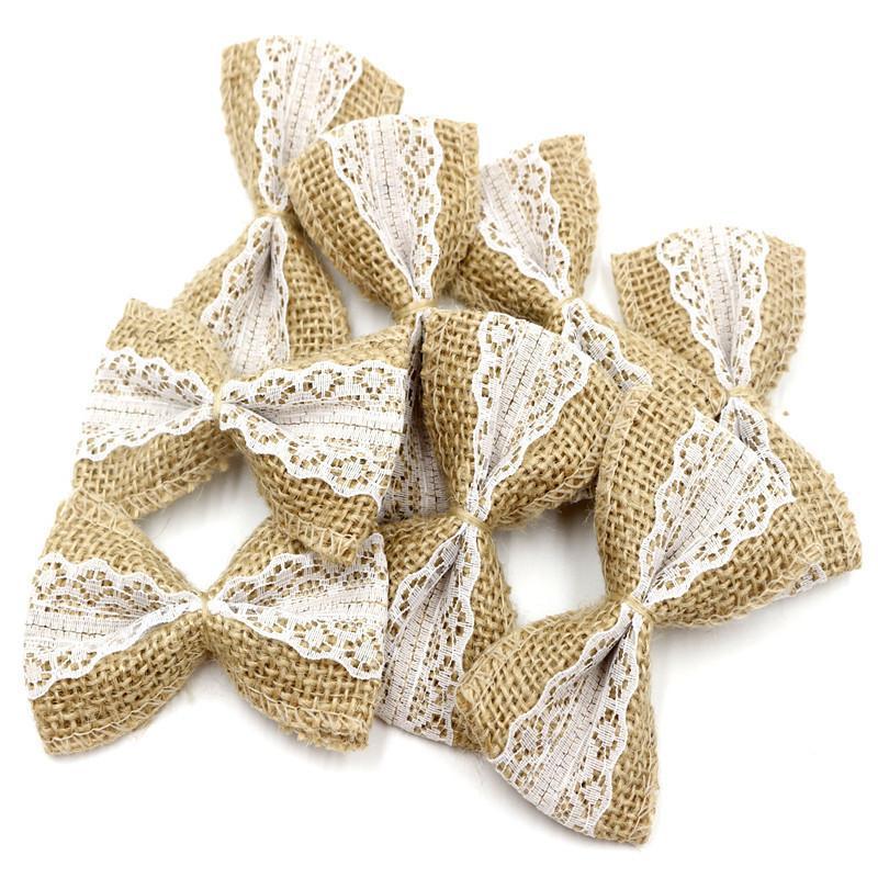 Vintage Natural Jute Burlap Hessian Diy Ribbons Bowknot Burlap