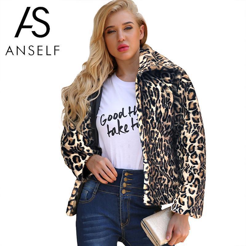 30dd94f56 Anself Leopard Print Faux Fur Coat Plush Fake Fur Jacket Luxury Winter  Coats Women Long Sleeve Warm Overcoat Autumn 2018