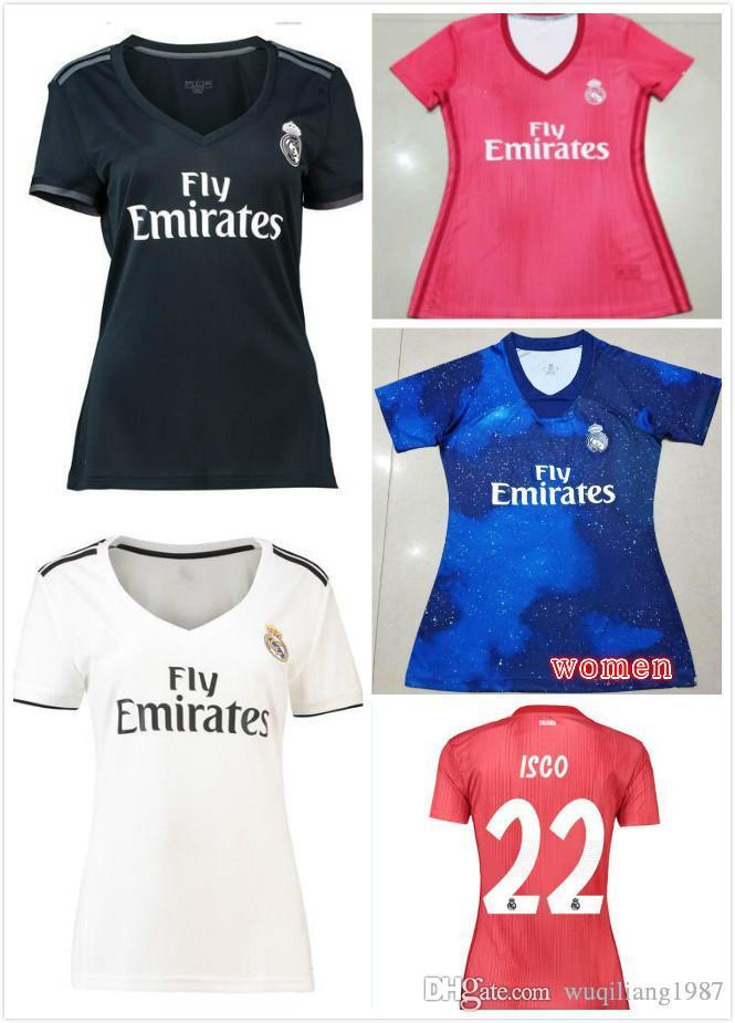 Mujeres ISCO Real Madrid Casa Blancas Camisetas De Fútbol 18 19 Real Madrid  Mujeres Camiseta De Fútbol Camisetas 2019 Dama Tercera Roja Uniformes De  Fútbol ... 9c570bb0630