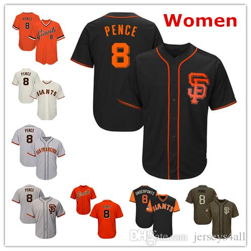promo code 45a7f 21aec Womens Giants Baseball Jerseys 8 Hunter Pence Jersey Cream Black Orange  Grey Gray Green Salute