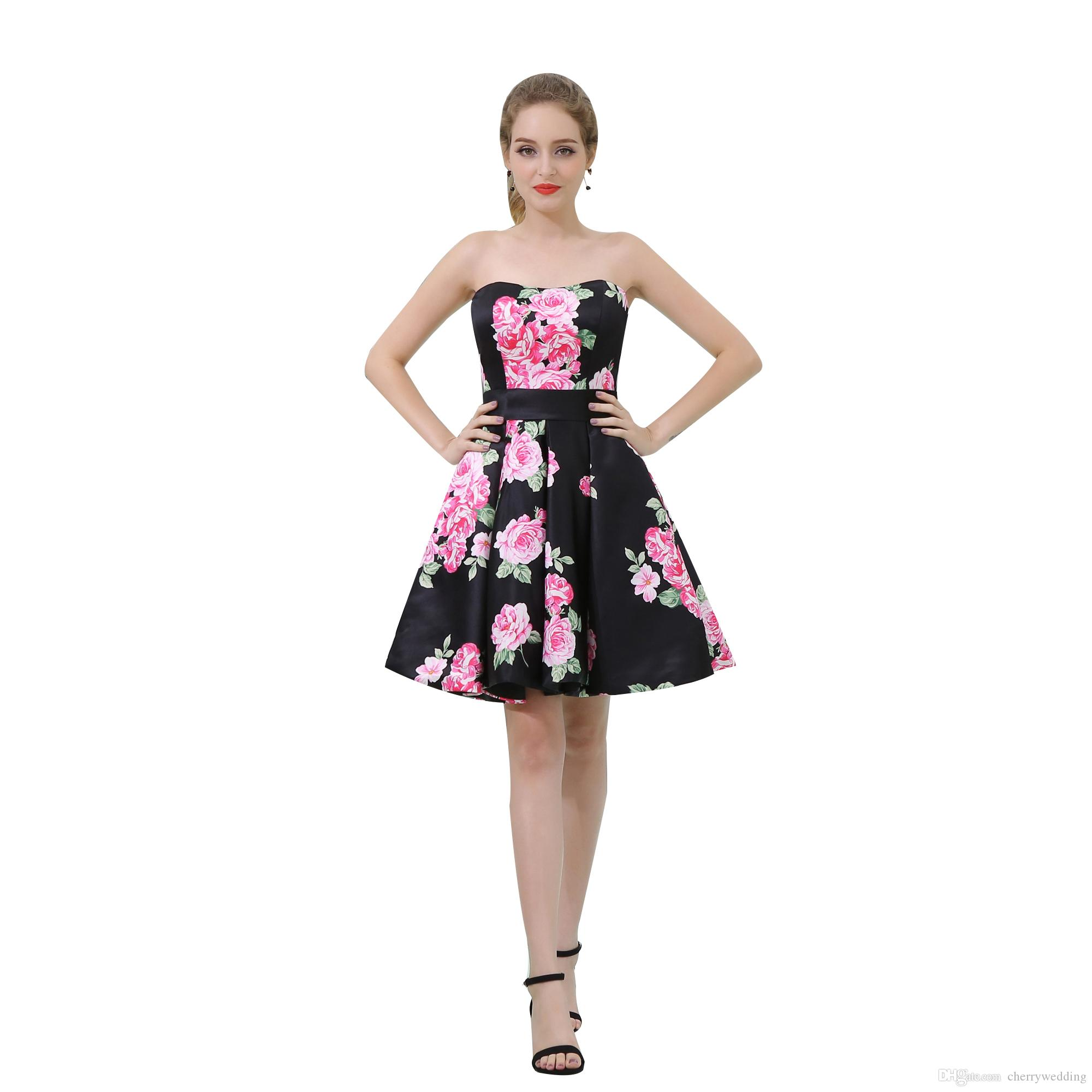 585b112b6c847 In Stock Cheap Prom Dress Print Flowers Evening Dresses Formal Gowns 2019  Robe De Bal Knee Length Print Flower Evening Dress B039 Unusual Prom Dresses  ...