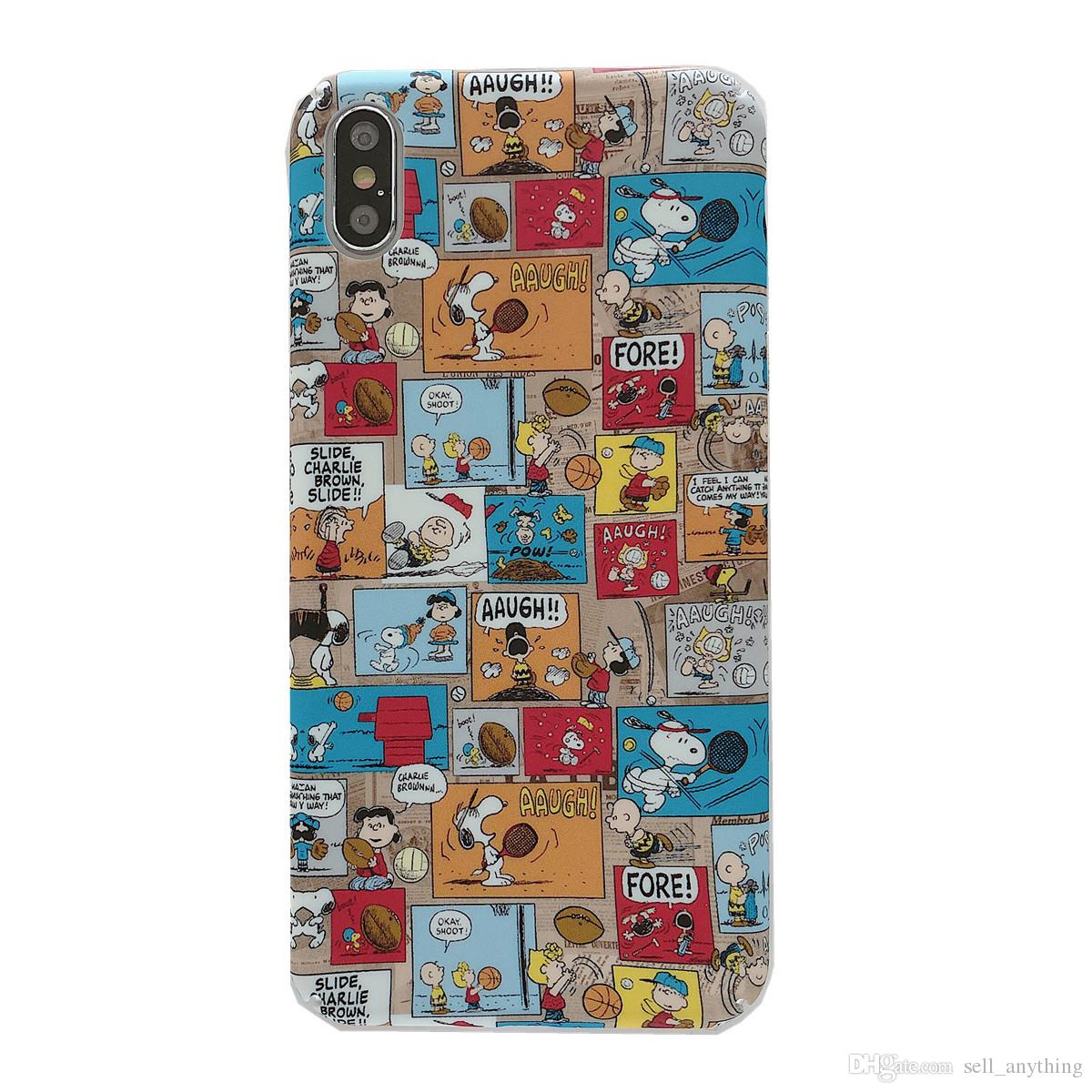pretty nice e3280 cd109 For Iphone Xs Max X Xr Phone Case Manga Snoopy Cartoon For Apple 7 8 6 Plus  Matte Pc Hard Cell Phone Cases