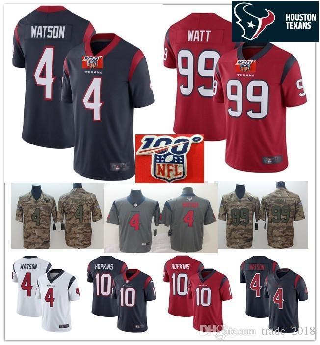 new style b7597 668d5 100th V neck patch 4 Deshaun Watson 99 J.J. Watt Texans Jersey Houston  Limited 10 DeAndre Hopkins red navy camo Football Jerseys