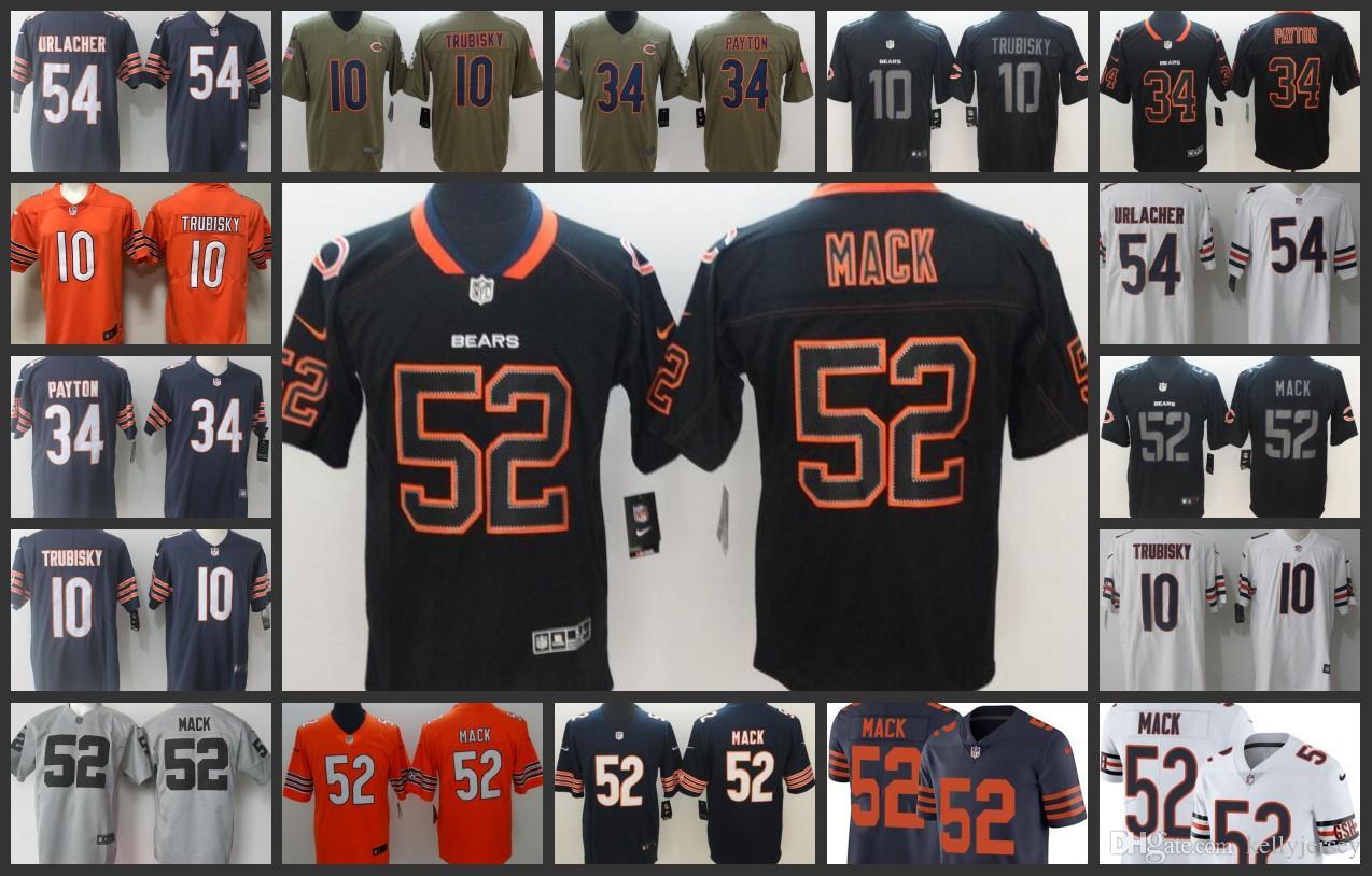 newest 1422c 81139 Chicago Men Bears Football Jersey #52 khalil Mack 10 Mitchell Trubisky 54  Brian Urlacher 34 Walter Payton Women Youth Jerseys