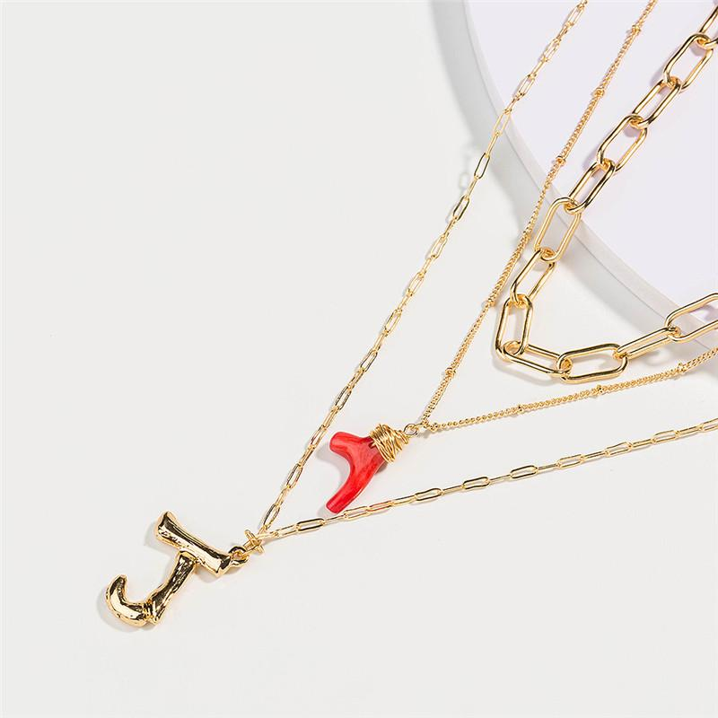 DIY Gold Alloy Letter Pendant Long Chian Necklace Natural Red Coral Branch Pendant Lady Multi-layer Necklace Jewelry For Gift